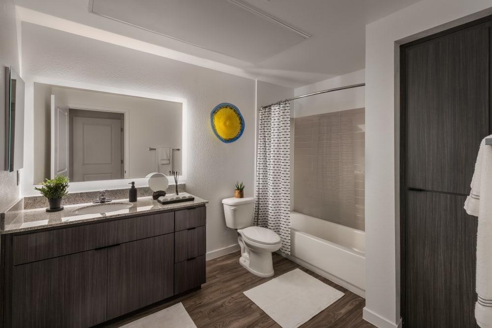 Modern decor in bathroom area of model home at Villa Vita Apartments in Peoria, Arizona