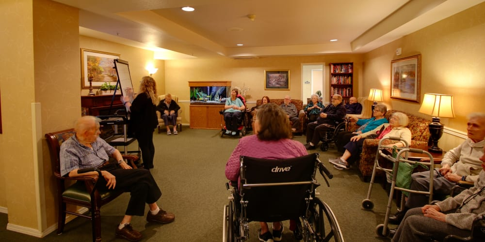 Residents enjoying a discussion at Patriots Glen in Bellevue, Washington.