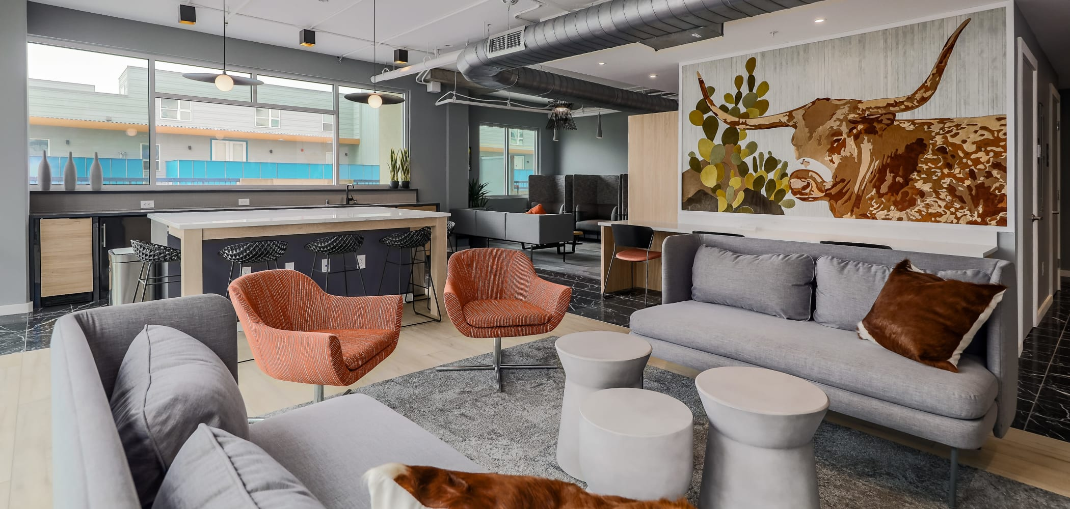 Modern Clubhouse Lounge at 21 Rio | Student Apartments in Austin, Texas