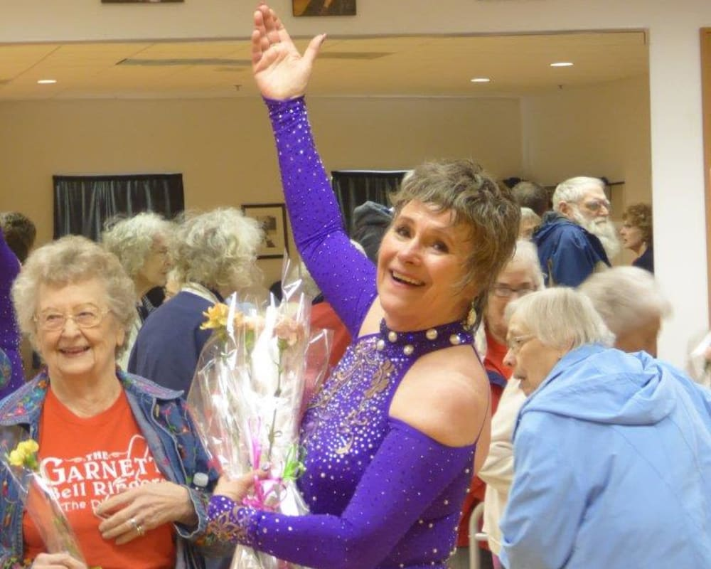 Resident Elayne and her dance instructor after a performance at The Lakeside Village in Panora, Iowa.