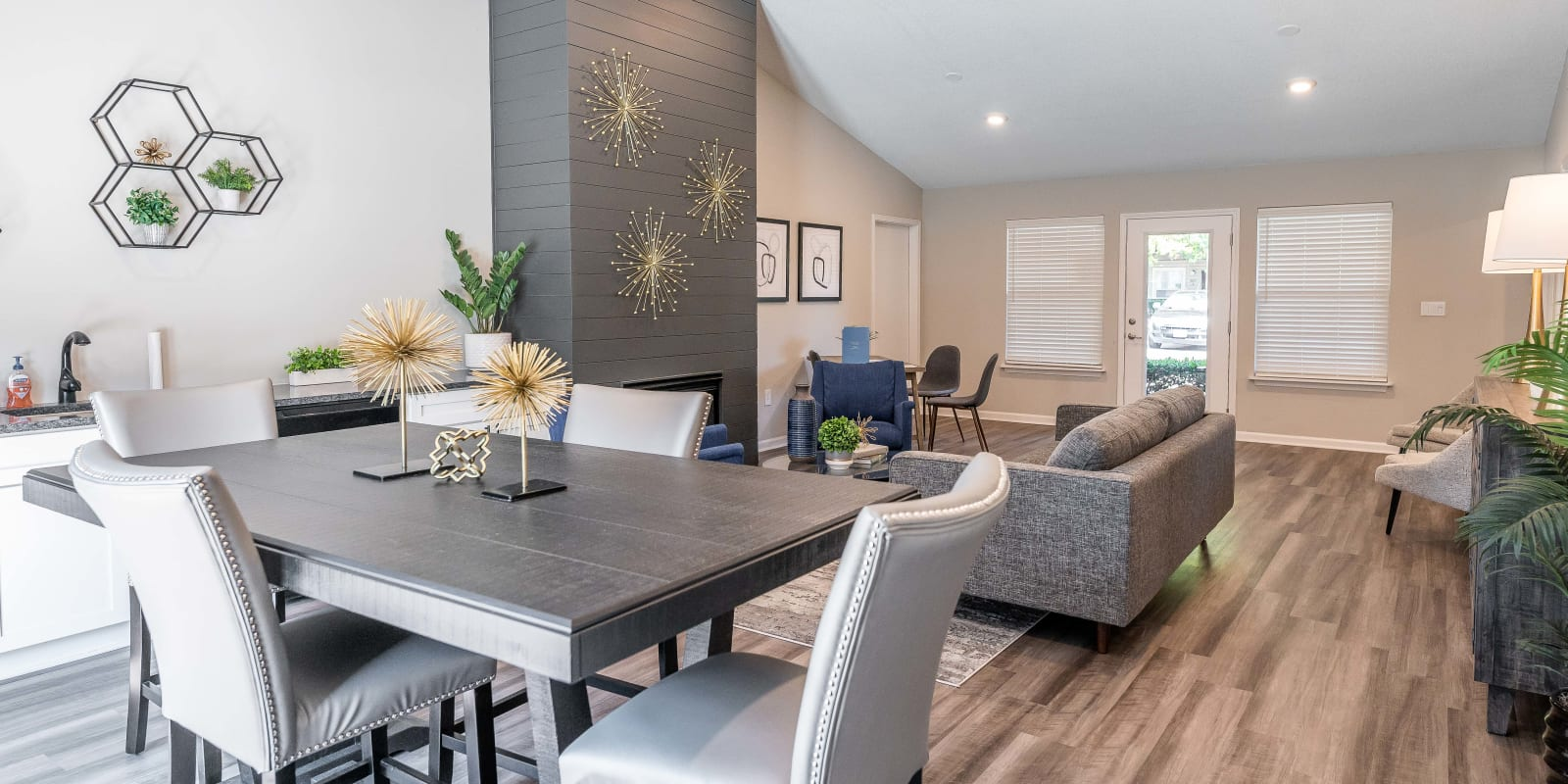 Clubhouse dining space for entertaining guests at Kannan Station Apartment Homes in Kannapolis, North Carolina