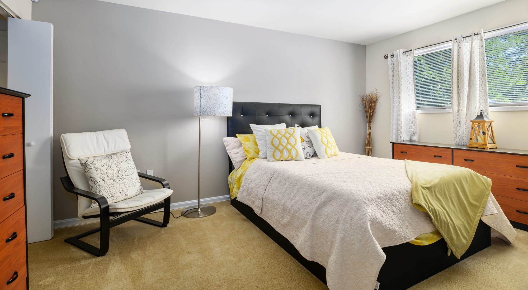 Modern decor in the bedroom of a model home at Capital Crossing in Suitland, Maryland