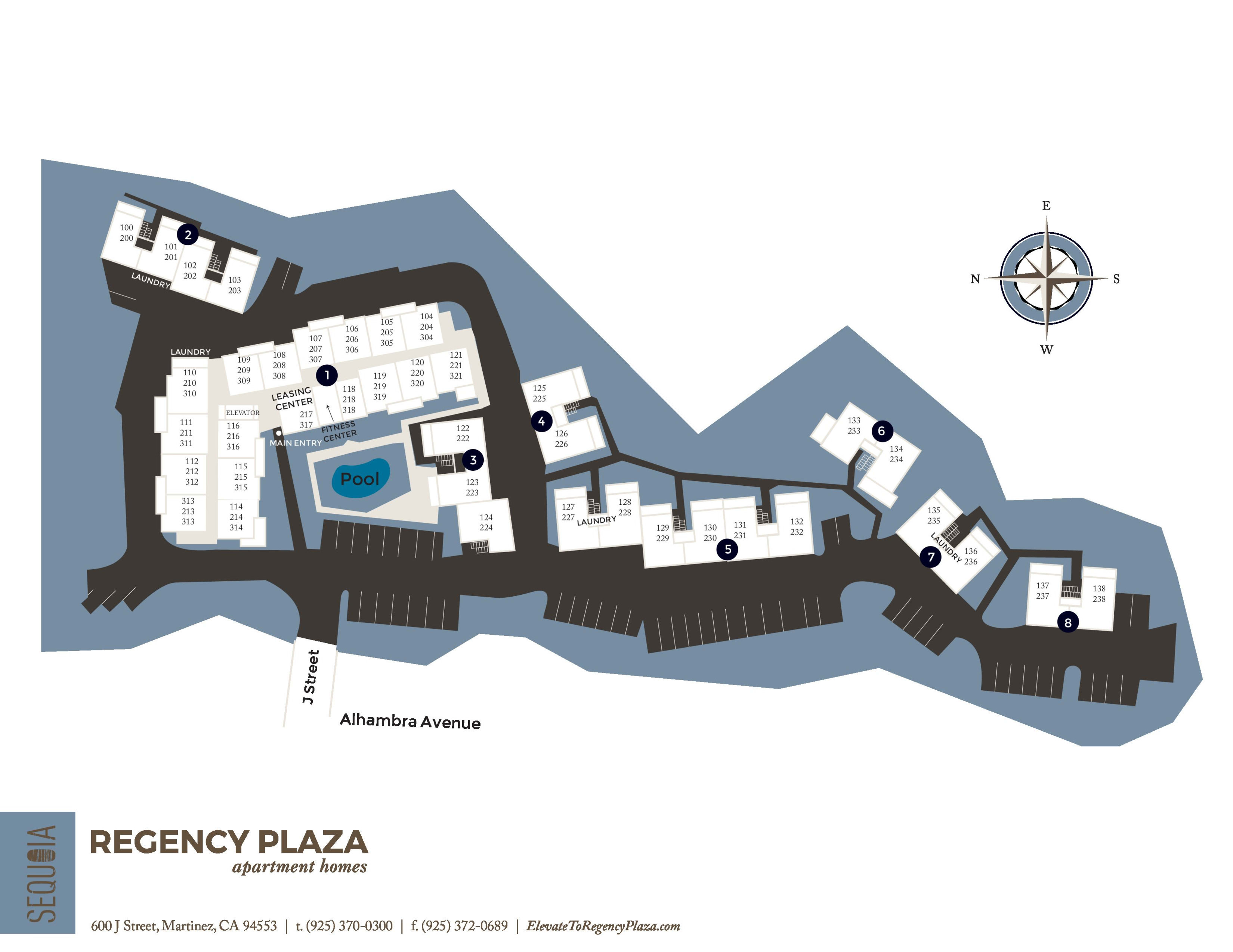 Community site map for Regency Plaza Apartment Homes in Martinez, California