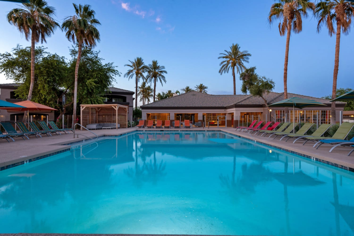 Sparkling pool at Luxe @ Ocotillo in Chandler, Arizona