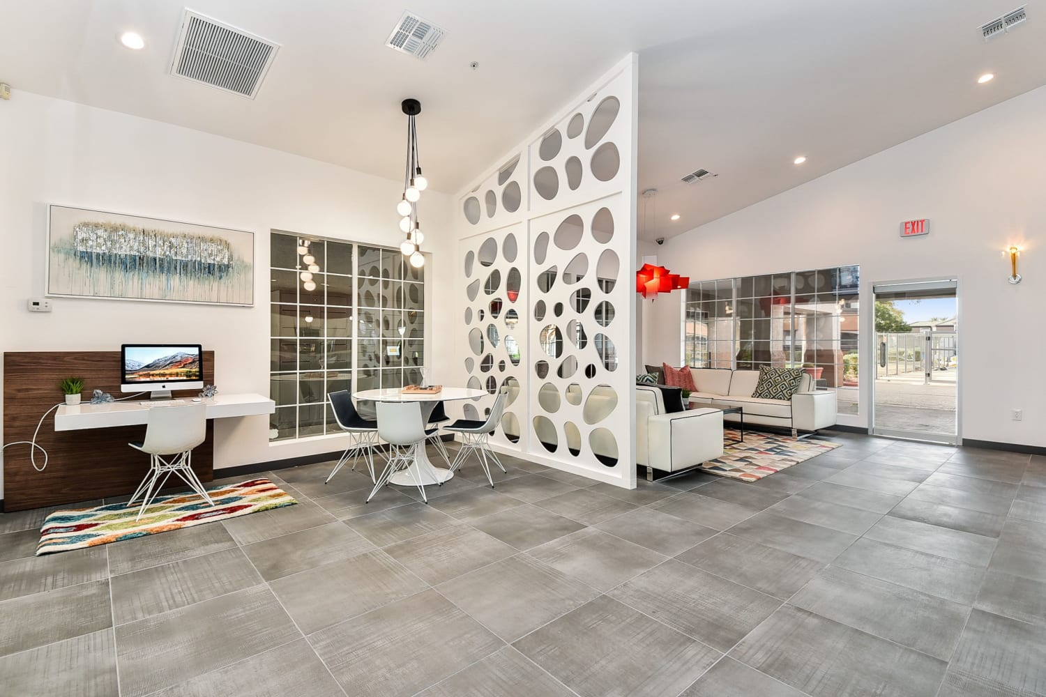 Business center and lounge at Luxe @ Ocotillo in Chandler, Arizona