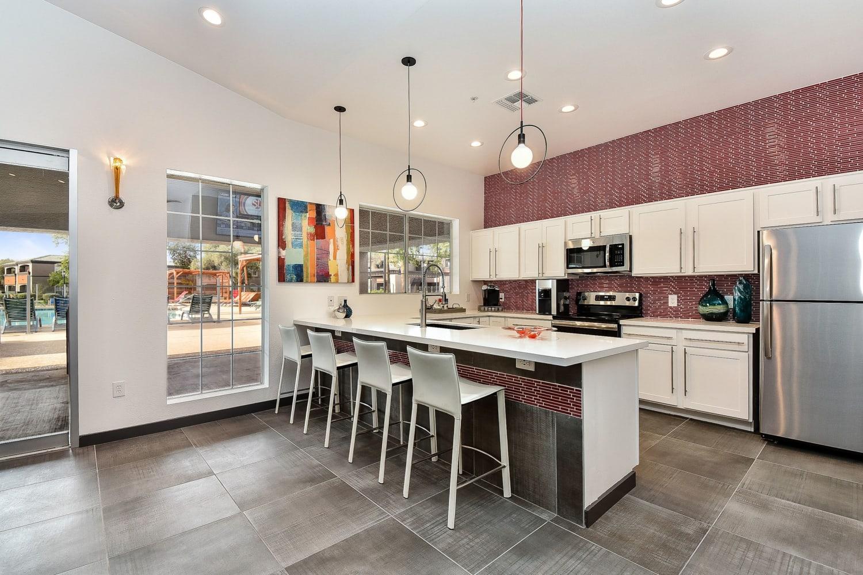 Community kitchen at Luxe @ Ocotillo in Chandler, Arizona