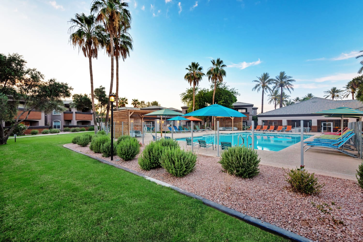Lawn and pool at Luxe @ Ocotillo in Chandler, Arizona