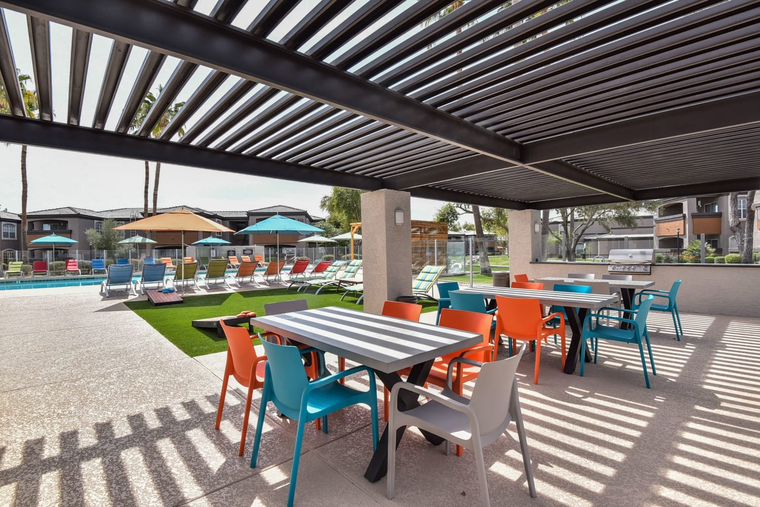 Patio seating at Luxe @ Ocotillo in Chandler, Arizona