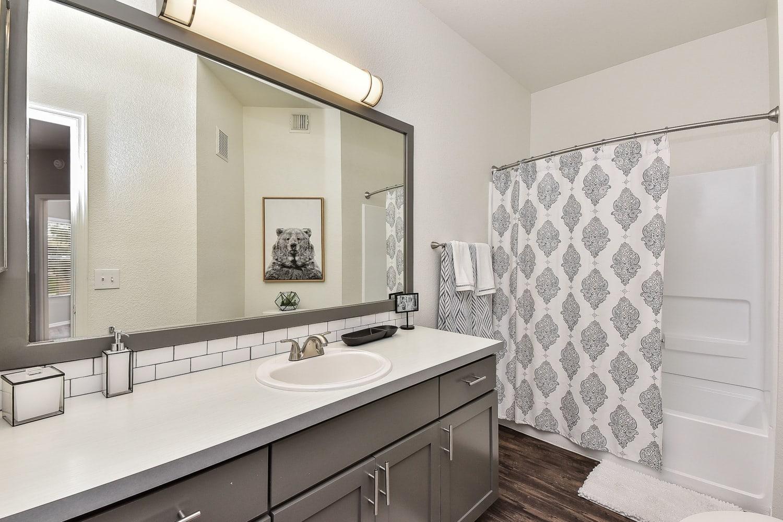 Model bathroom at Luxe @ Ocotillo in Chandler, Arizona