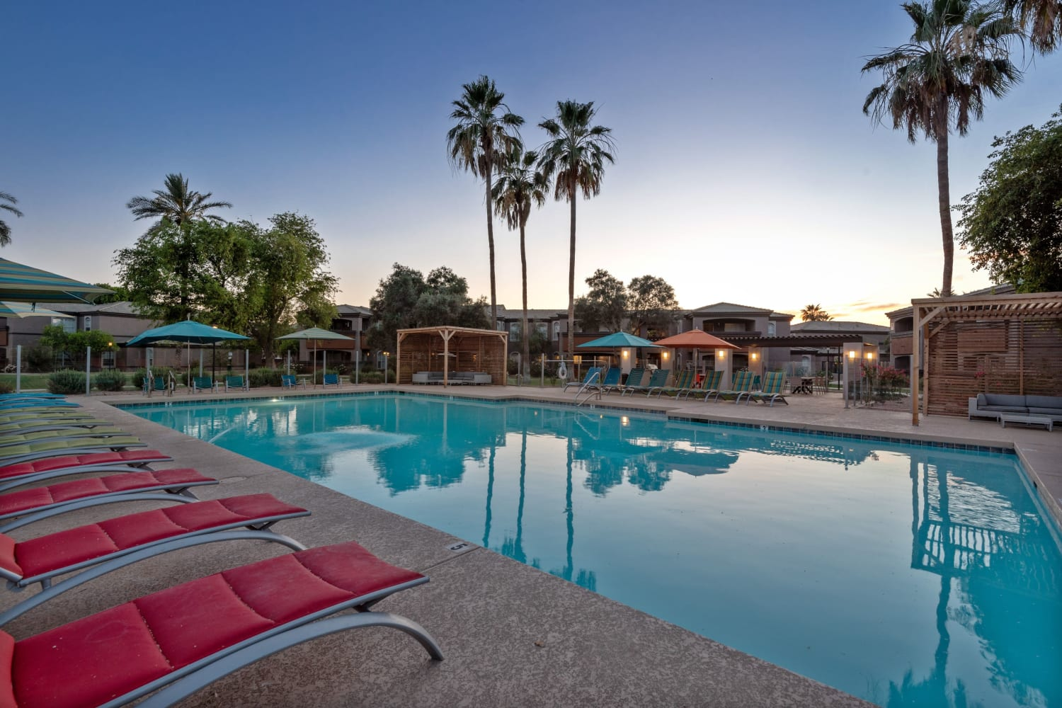 Enjoy apartments with a swimming pool at Luxe @ Ocotillo in Chandler, Arizona