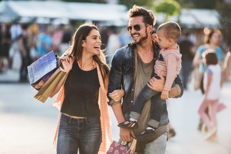 Family shopping in the city near Beckett Park in Smyrna, Georgia