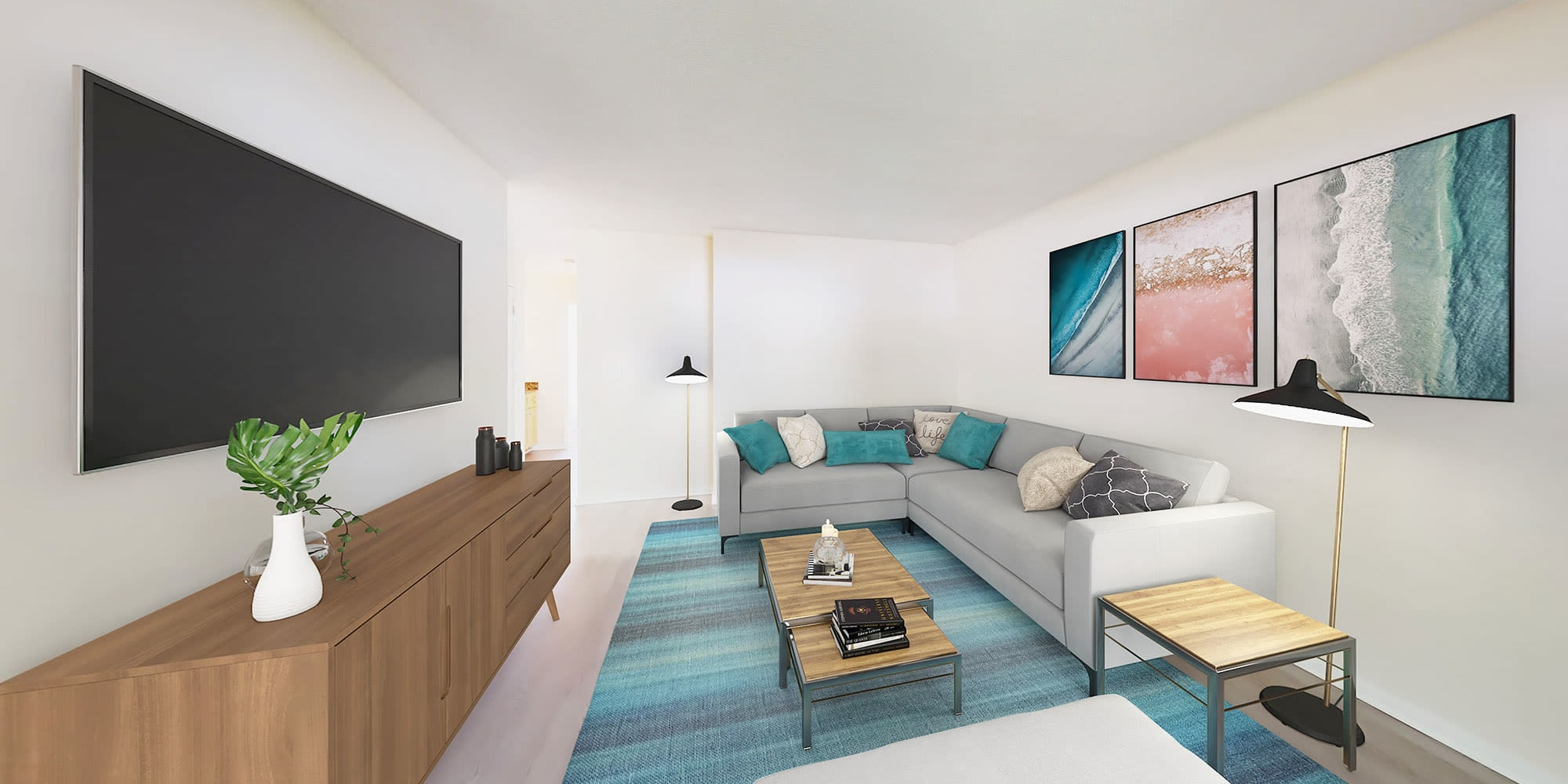 Modern furnishings in the living area of a one-bedroom apartment at Pleasanton Place Apartment Homes in Pleasanton, California