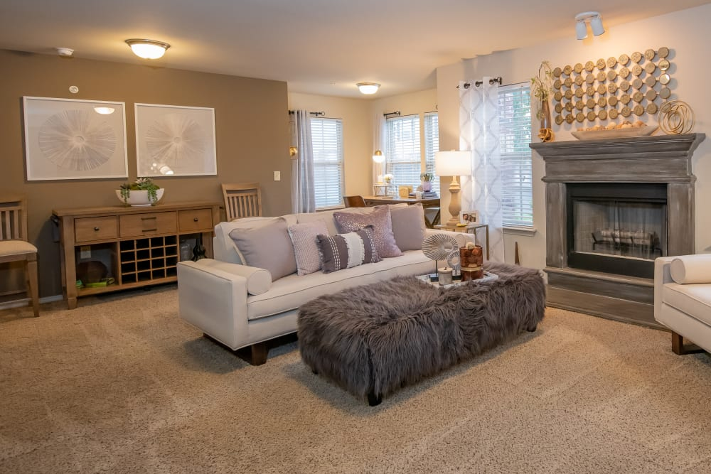 Bright living room at Cascata Apartments in Tulsa, Oklahoma