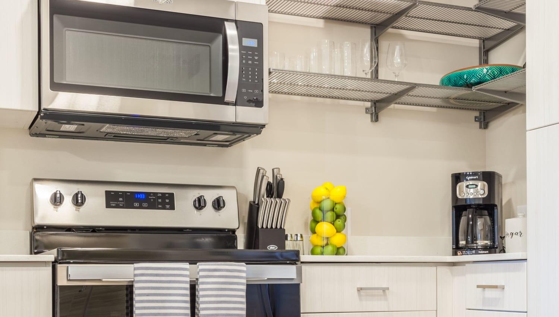 Kitchen details at Capitol Flats in Santa Fe, New Mexico