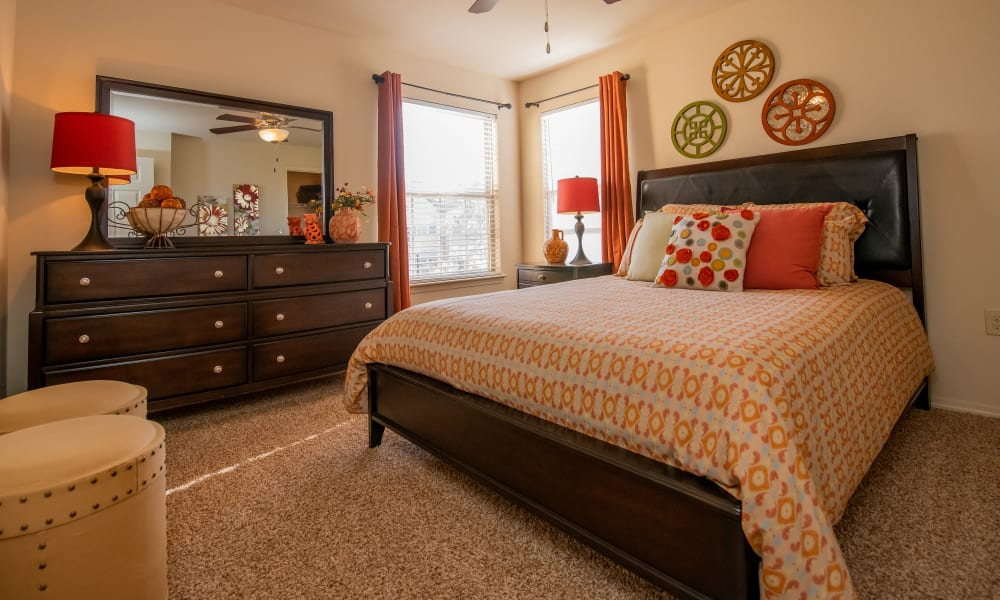 Large windows in spacious bedroom at Park at Tuscany in Oklahoma City, Oklahoma