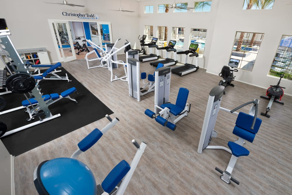 Fitness center with yoga studio at Christopher Todd Communities on Mountain View in Surprise, Arizona