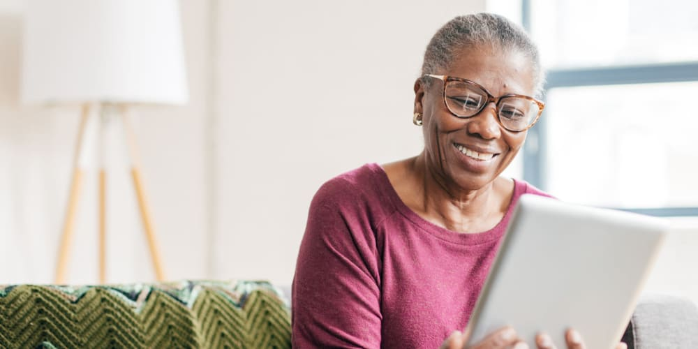A resident using the LifeShare program at Apple Creek Place in Appleton, Wisconsin