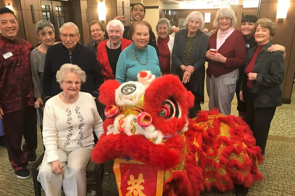 Residents celebrating Chinese New Year at Merrill Gardens at Lafayette in Lafayette, California.