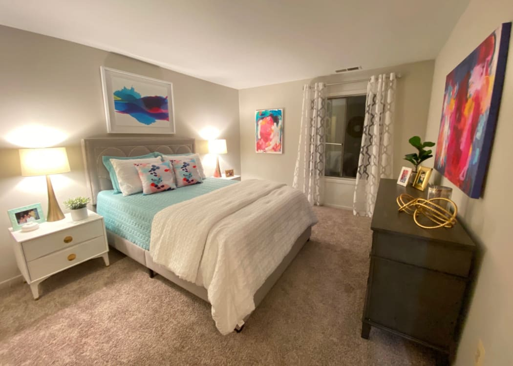 Large bedroom in a model home at Courtyards at Cedar Hills in Beaverton, Oregon