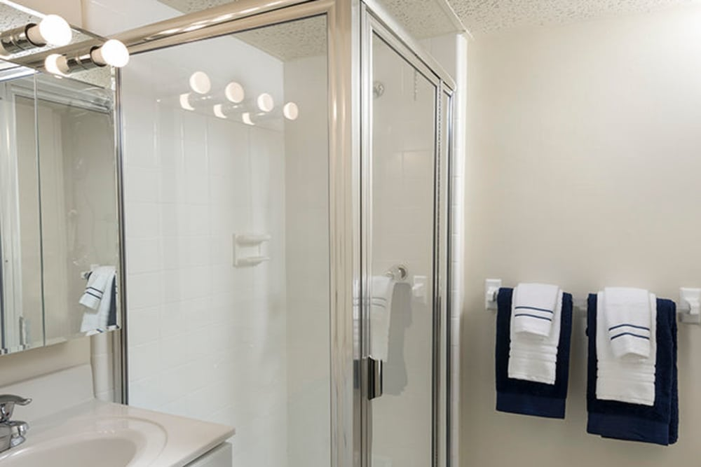 The shower and bathroom at Haddonview Apartments