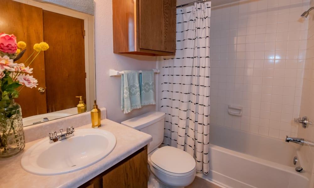 Studio bathroom at Raintree Apartments in Wichita, Kansas