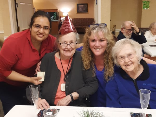 Residents celebrating new years at Patriots Glen in Bellevue, Washington.