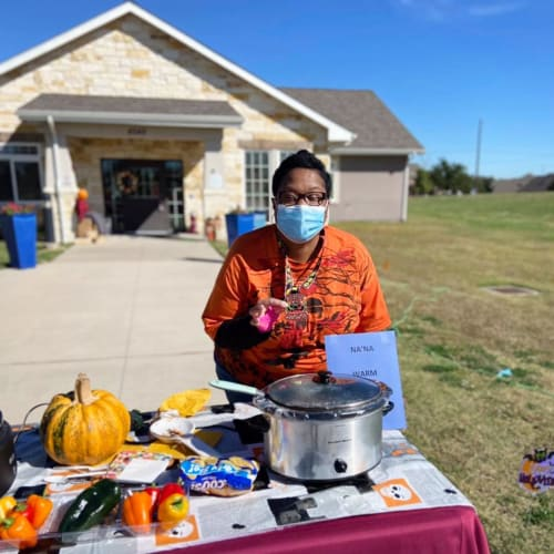 Catered outdoor event at Oxford Glen Memory Care at Sachse in Sachse, Texas