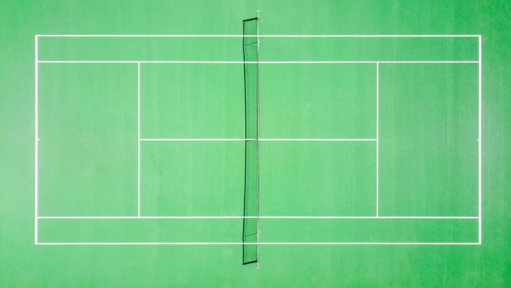 Top view of green tennis court