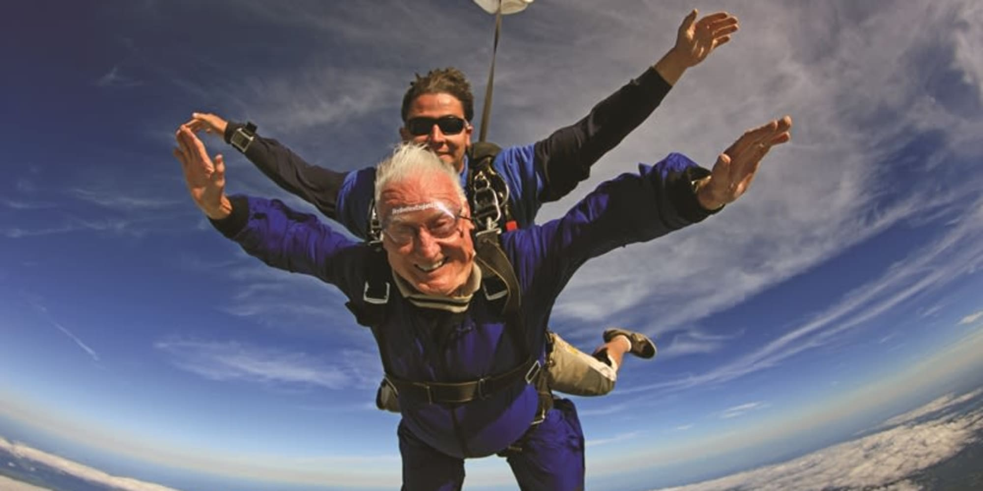 A resident from Estrella Estates Gracious Retirement Living in Goodyear, Arizona sky diving