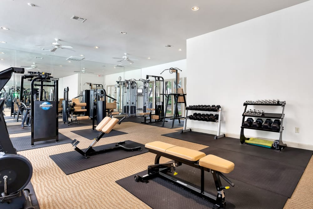Spacious fitness center at The Lodge at Westover Hills in San Antonio, Texas