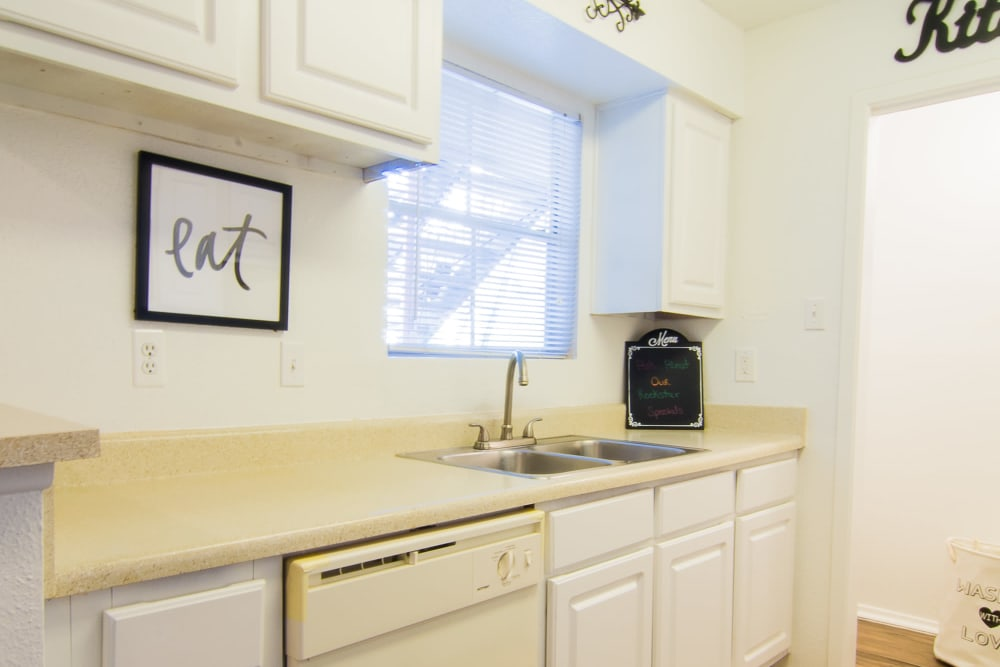 Renovated kitchen at Parkside Apartments in Humble, Texas