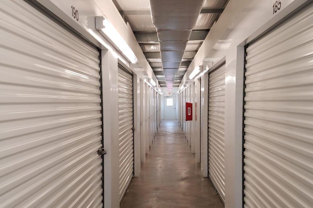 Hall of storage units at Monster Self Storage in Savannah, Georgia