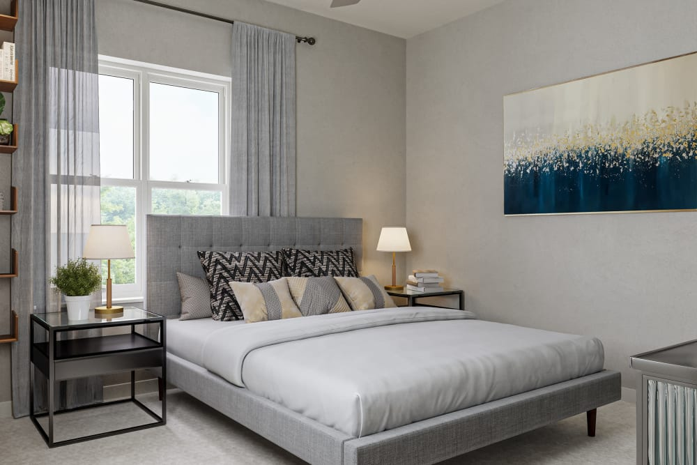 A furnished apartment bedroom at Chelsea Park West in Traverse City, Michigan