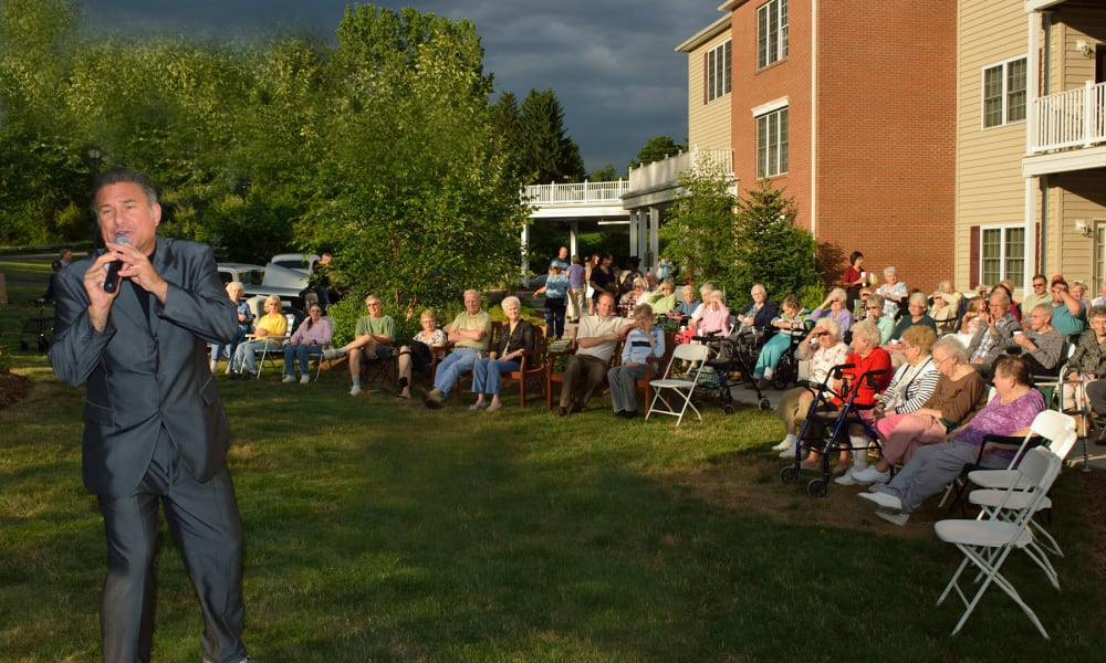 A Jimmy Mazz lawn concert at Keystone Commons in Ludlow, Massachusetts