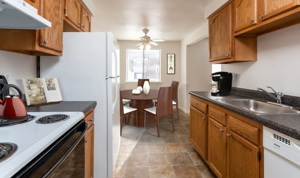 Well-equipped kitchen at East Ridge Manor Apartments in Rochester, New York