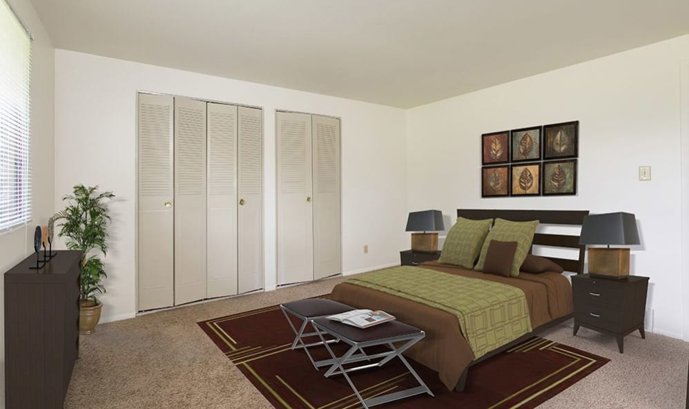 Luxury bedroom at High Acres Apartments & Townhomes in Syracuse, New York