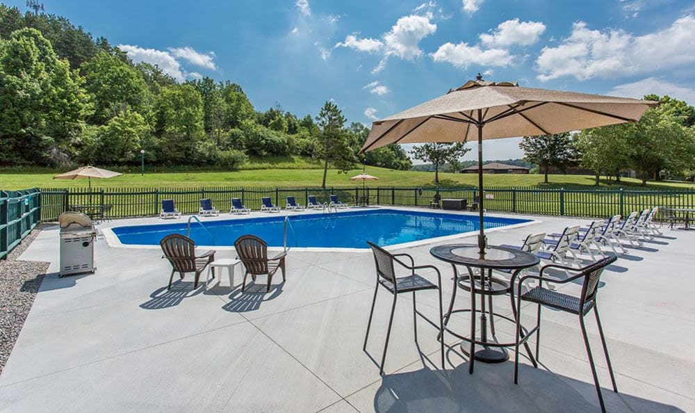 Sparkling swimming pool at Steeplechase Apartments in Camillus, New York