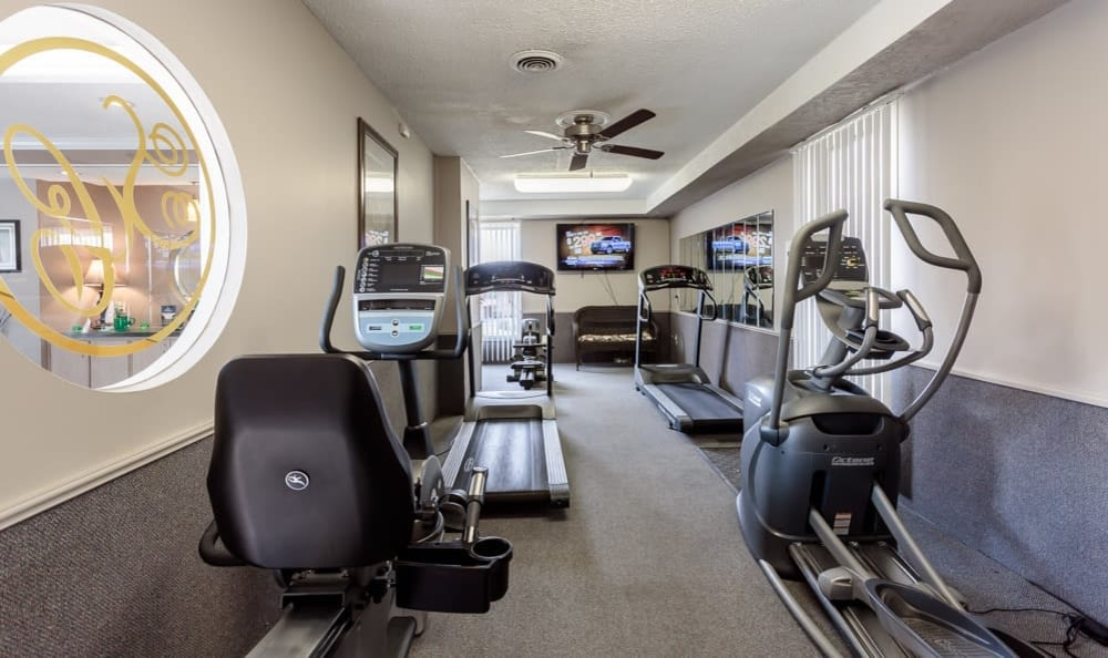 Fitness center at Steeplechase Apartments in Camillus, New York
