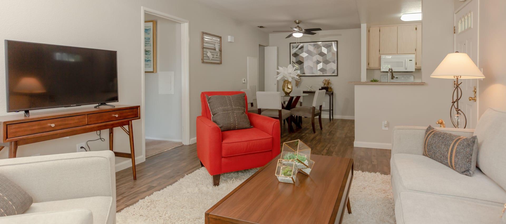 Living room and kitchen at Shaliko in Rocklin, California.