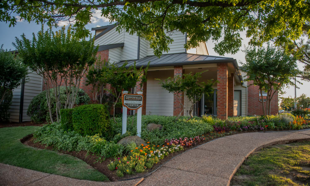 Apartment clubhouse entrance at Copperfield Apartments in Oklahoma City, Oklahoma