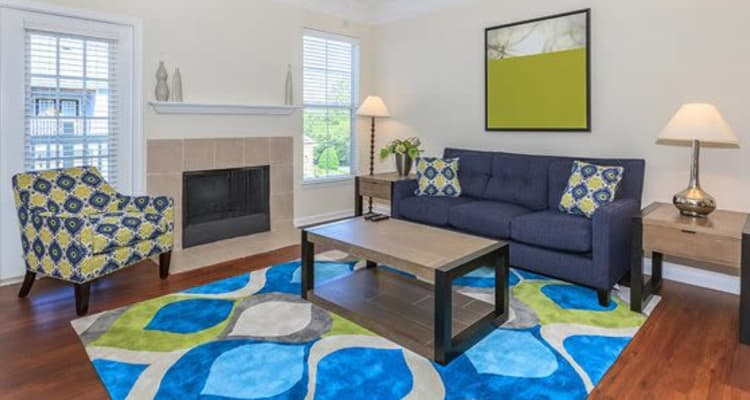 Modern decor in spacious living room of model home at Highlands at Alexander Pointe in Charlotte, North Carolina