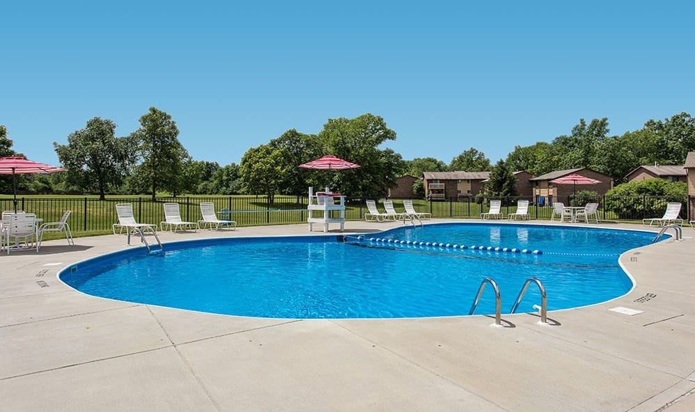 Resort-style pool at High Acres Apartments & Townhomes in Syracuse, New York
