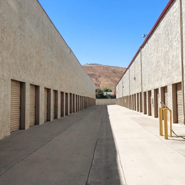 Outdoor storage units at StorQuest Self Storage in Riverside, California