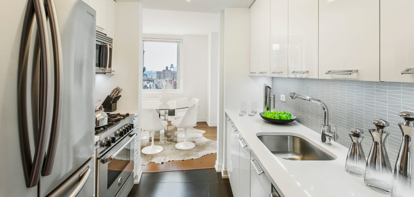 Spacious kitchen with plenty of counter top space at The Larstrand in New York, New York