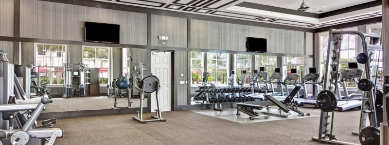 Spin bikes at City Center on 7th Apartment Homes in Pembroke Pines, Florida