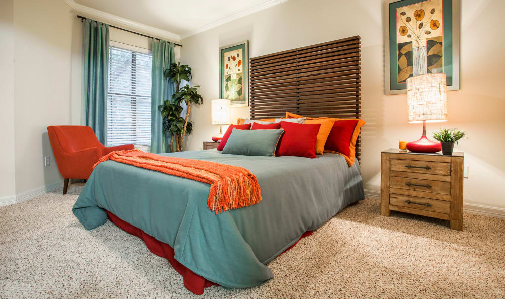 Plush carpeting in the spacious master bedroom of a model home at Riata Austin in Austin, Texas