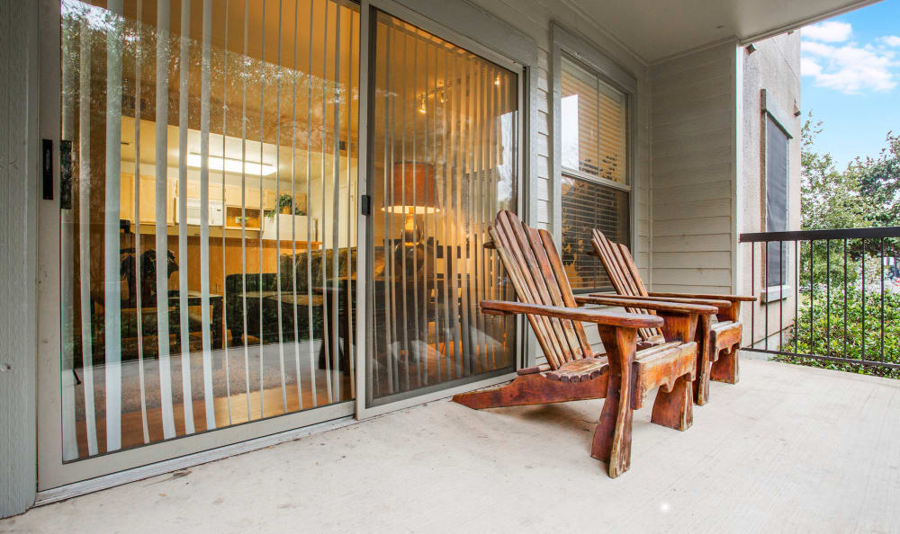 Private balcony outside a model home's master bedroom at Riata Austin in Austin, Texas