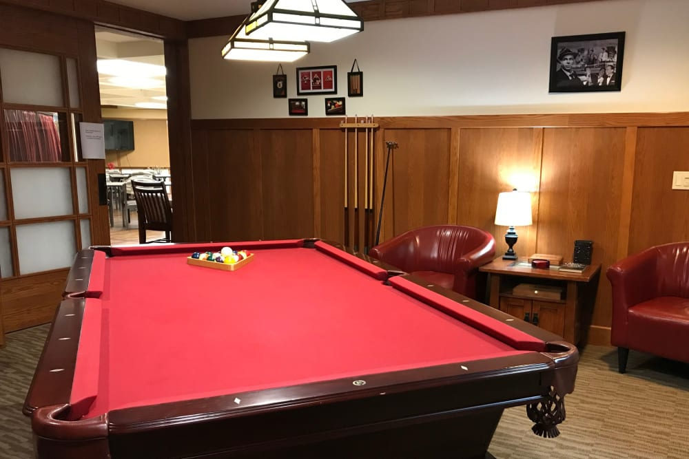 Billard's room with pool table  at Prairie Hills Senior Living in Cedar Rapids, Iowa.