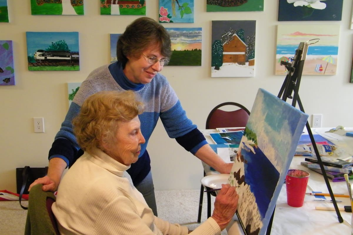 Residents painting at Birchwoods at Canco Assisted Living in Portland, Maine