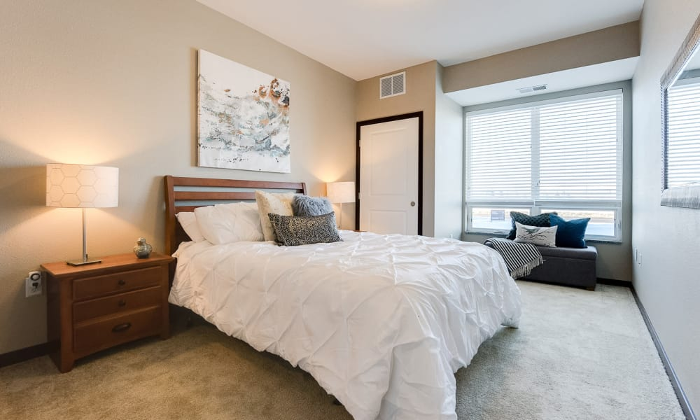 Luxury bedroom at Remington Cove Apartments in Apple Valley, Minnesota